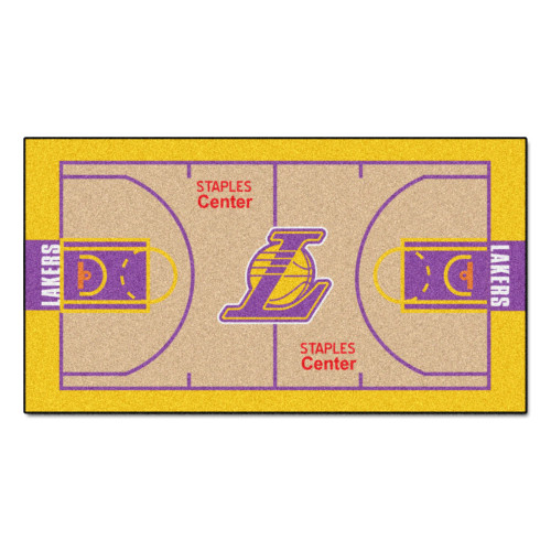 """24"""" x 44"""" Beige and Yellow NBA Los Angeles Lakers Court Rug Runner - IMAGE 1"""