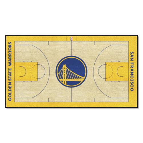 "24"" x 44"" Beige and Blue NBA Golden State Warriors Court Rug Runner - IMAGE 1"