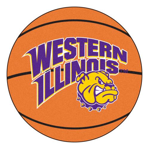 "27"" Orange and Purple NCAA Western Illinois University Leathernecks Basketball Mat - IMAGE 1"