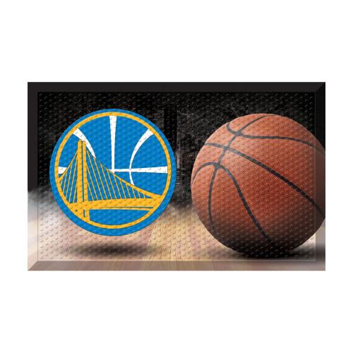 """19"""" x 30"""" Brown and Blue NBA Golden State Warriors Shoe Scraper Doormat - IMAGE 1"""