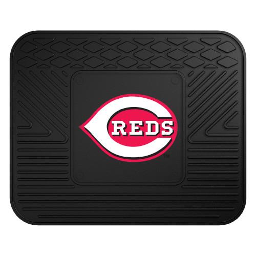 """14"""" x 17"""" Black MLB Cincinnati """"REDS"""" Heavy Duty Rear Car Seat Utility Mat - IMAGE 1"""