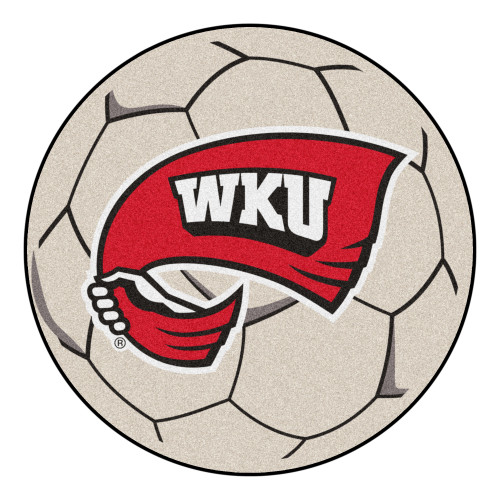 """27"""" Gray and Red NCAA Western Kentucky University Hilltopper Soccer Ball Mat Round Area Rug - IMAGE 1"""
