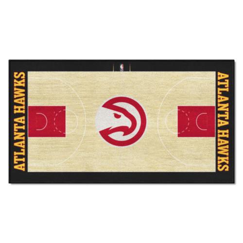 "24"" x 44"" Beige and Red NBA Atlanta Hawks Court Rug Runner - IMAGE 1"
