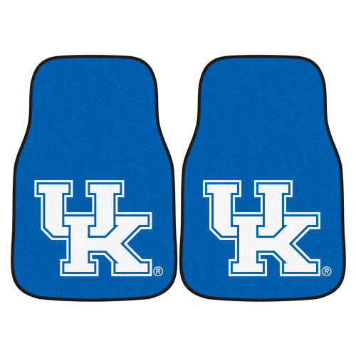 """Set of 2 Blue and White NCAA University of Kentucky Wildcats Front Carpet Car Mats 17"""" x 27"""" - IMAGE 1"""