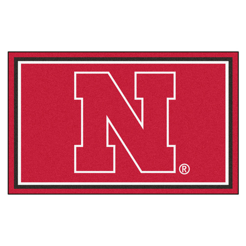 3.6' x 5.9' Red NCAA University of Nebraska Blackshirts Cornhuskers Plush Area Rug - IMAGE 1