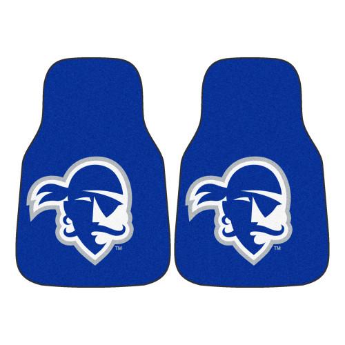 "Set of 2 Blue and White NCAA Seton Hall University Pirates Front Carpet Car Mats 17"" x 27"" - IMAGE 1"