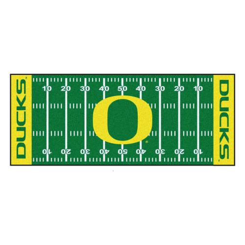 "30"" x 72"" Green and Yellow NCAA University of Oregon Ducks Football Field Mat Area Rug Runner - IMAGE 1"