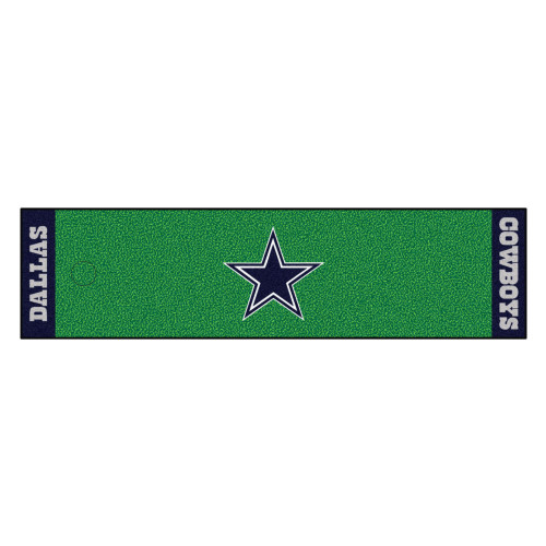 """18"""" x 72"""" Green and Blue NFL Dallas Cowboys Golf Putting Mat - IMAGE 1"""