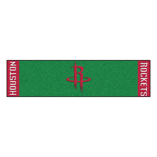 """18"""" x 72"""" Green and Red NBA Houston Rockets Golf Putting Mat - IMAGE 1"""