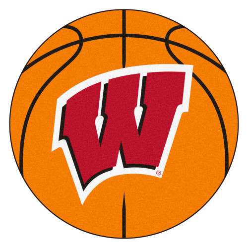 """27"""" Orange and Red NCAA University of Wisconsin Badgers Basketball Round Area Rug - IMAGE 1"""