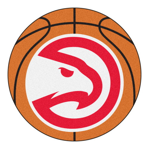 "27"" Orange and Red NBA Atlanta Hawks Basketball Round Doormat - IMAGE 1"