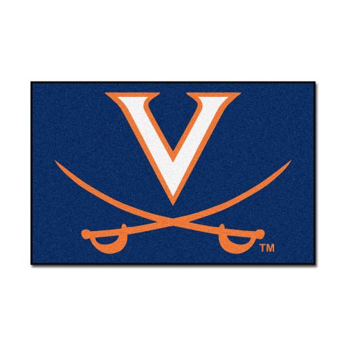 """Blue and Orange NCAA University of Virginia Cavaliers Rectangular Starter Door Mat 19"""" x 30"""" - IMAGE 1"""