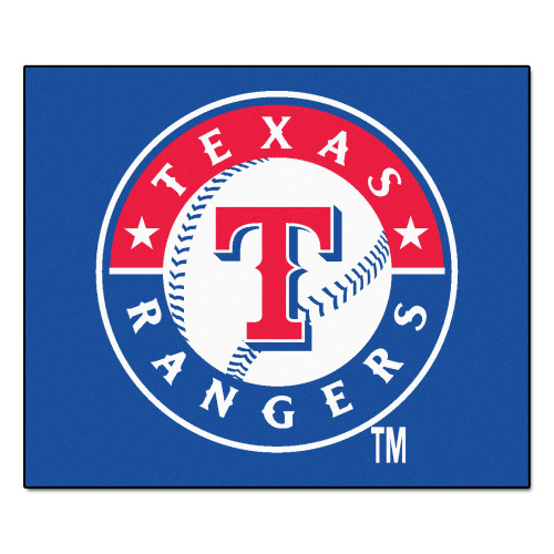 """59.5"""" x 71"""" Blue and Red MLB Texas Rangers Rectangular Tailgater Mat Outdoor Area Rug - IMAGE 1"""