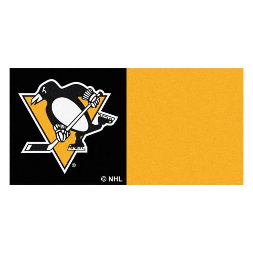 "20pc Black and Yellow NHL Pittsburgh Penguins Team Carpet Tile Flooring Squares 18"" x 18"" - IMAGE 1"