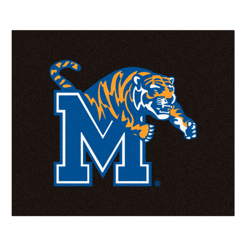 """59.5"""" x 71"""" Blue and White NCAA University of Memphis Tigers Tailgater Mat Rectangular Area Rug - IMAGE 1"""