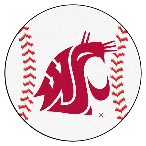 "27"" White and Red NCAA Washington State University Cougars Baseball Mat - IMAGE 1"