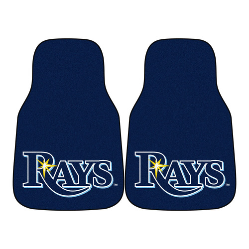 "Set of 2 Blue and White MLB Tampa Bay Rays Front Carpet Car Mats 17"" x 27"" - IMAGE 1"