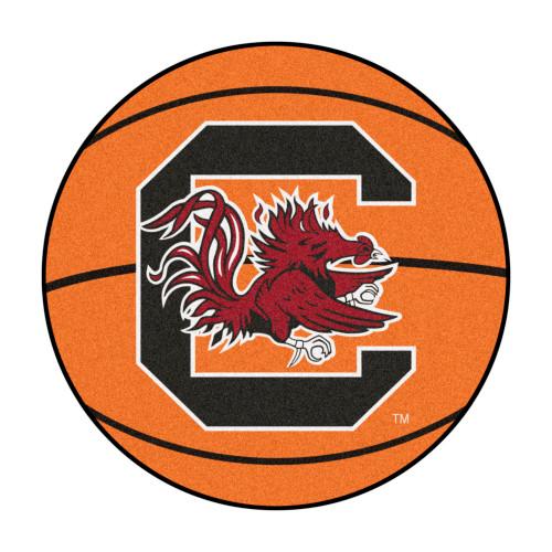 """27"""" Orange and Red NCAA University of South Carolina Gamecocks Basketball Round Area Rug - IMAGE 1"""