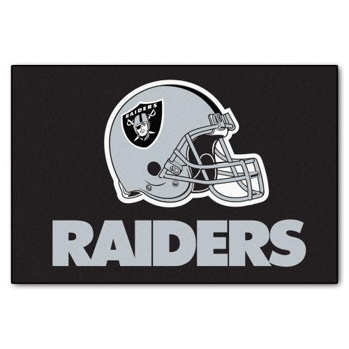 "19"" x 30"" Black and Gray NFL Oakland Raiders Rectangular Starter Mat - IMAGE 1"