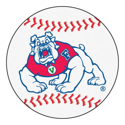 "27"" Blue and White NCAA Fresno State Bulldogs Baseball Mat Round Area Rug - IMAGE 1"