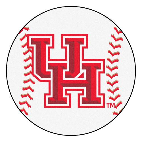 "27"" White and Red NCAA University of Houston Cougars Baseball Mat - IMAGE 1"