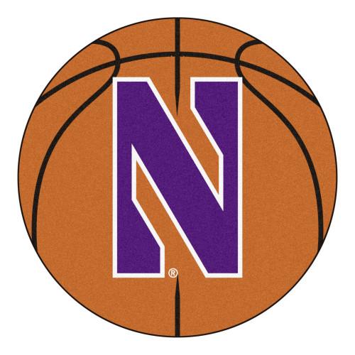 "27"" Brown and Purple NCAA Northwestern University Demons Basketball Shaped Door Mat - IMAGE 1"