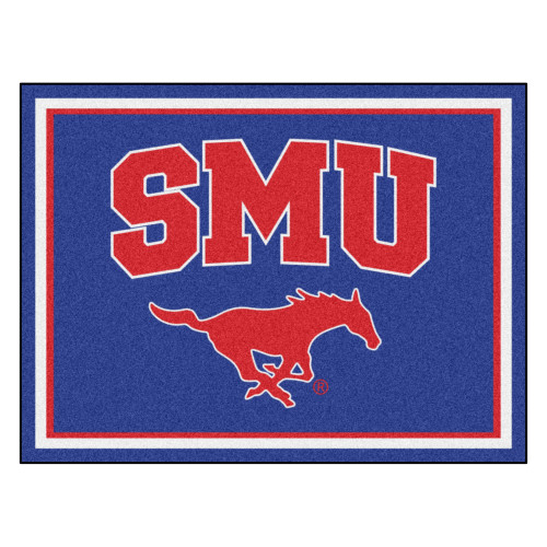 8' x 10' Blue and Red NCAA Southern Methodist University Mustangs Non-Skid Area Rug - IMAGE 1