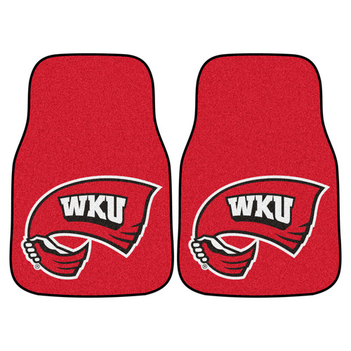 """Set of 2 Red and White NCAA Western Kentucky University Hilltopper Carpet Car Mats 17"""" x 27"""" - IMAGE 1"""