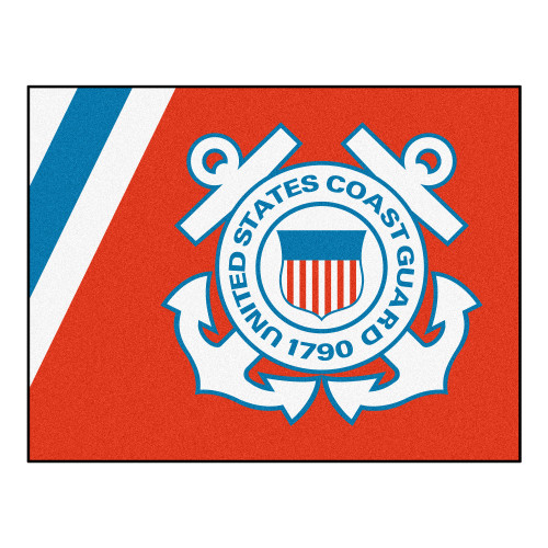 """33.75"""" x 42.5"""" Red and White U.S. Coast Guard All Star Mat Rectangular Area Rug - IMAGE 1"""