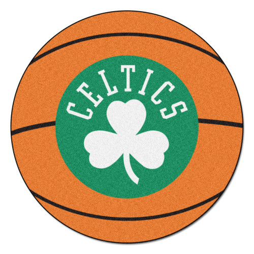 "27"" Orange and Green NBA Boston Celtics Basketball Round Doormat - IMAGE 1"