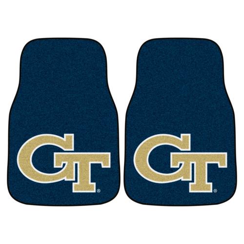 "Set of 2 Blue and Beige NCAA Georgia Tech Yellow Jackets Carpet Car Mats 17"" x 27"" - IMAGE 1"