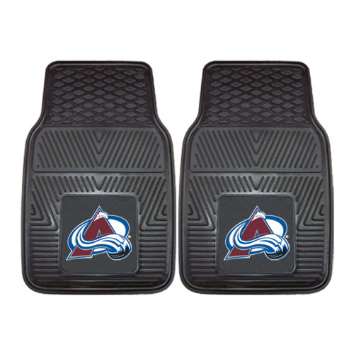 """Set of 2 Black and Blue NHL Colorado Avalanche Front Car Mats 17"""" x 27"""" - IMAGE 1"""