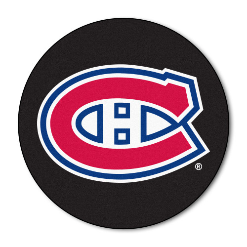 """27"""" Black and Red NHL Montreal Canadiens Puck Round Doormat - IMAGE 1"""