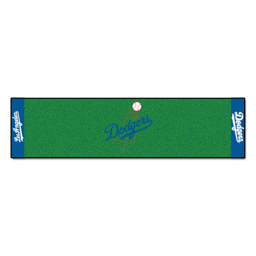 """19"""" x 30"""" Green and Blue MLB Los Angeles Dodgers Golf Putting Mat - IMAGE 1"""