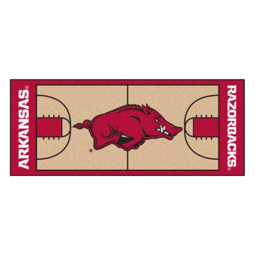 "30"" x 72"" Red and Brown NCAA University of Arkansas Razorbacks Basketball Area Rug Runner - IMAGE 1"