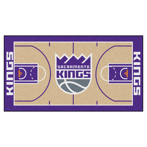 2.4' x 4.5' Purple and White NBA Sacramento Kings Basketball Court Mat Area Throw Rug Runner - IMAGE 1
