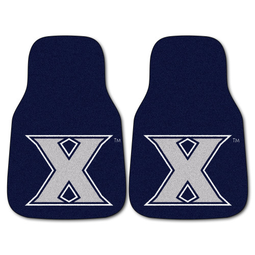 """Set of 2 Blue and White NCAA Xavier University Musketeers Carpet Car Mats 17"""" x 27"""" - IMAGE 1"""