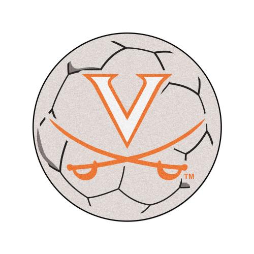 """27"""" Gray and Orange NCAA University of Virginia Cavaliers Soccer Ball Door Mat - IMAGE 1"""