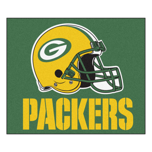 "59.5"" x 71"" Yellow and White NFL Green Bay Packers Rectangular Tailgater Mat - IMAGE 1"