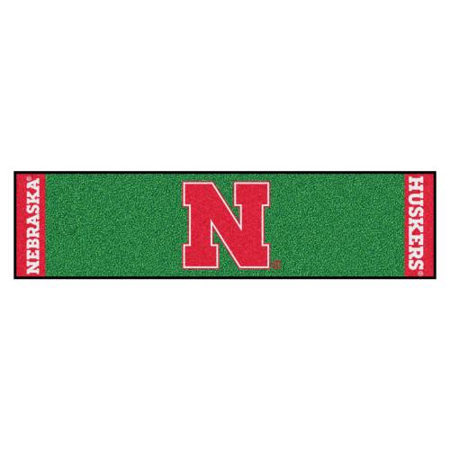 "18"" x 72"" Green and Red NCAA University of Nebraska Blackshirts Cornhuskers Golf Putting Mat - IMAGE 1"