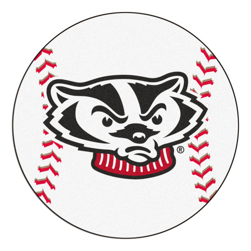 """27"""" Black and White NCAA University of Wisconsin Badgers Mat - IMAGE 1"""