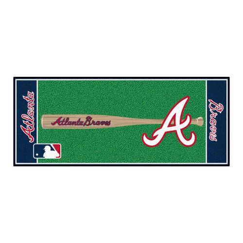 "30"" x 72"" Blue and Green MLB Atlanta Braves Non-Skid Baseball Mat Area Rug Runner - IMAGE 1"