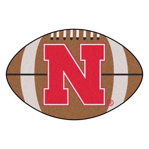 "20.5"" x 32.5"" Brown and Red NCAA University of Nebraska Blackshirts Cornhuskers Football Shaped Area Rug - IMAGE 1"