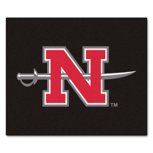 "59.5"" x 71"" Black and Red NCAA Nicholls State University Colonels Tailgater Mat Outdoor Area Rug - IMAGE 1"