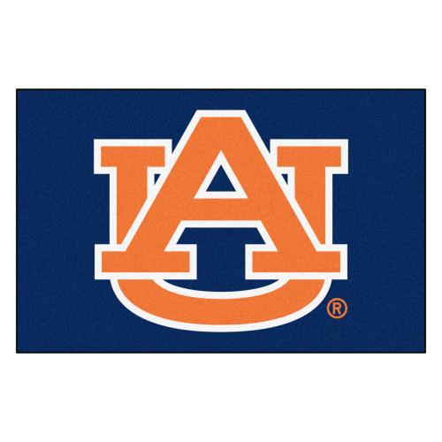 "19"" x 30"" Blue and Orange NCAA Auburn University Tigers Starter Mat Rectangular Area Rug - IMAGE 1"