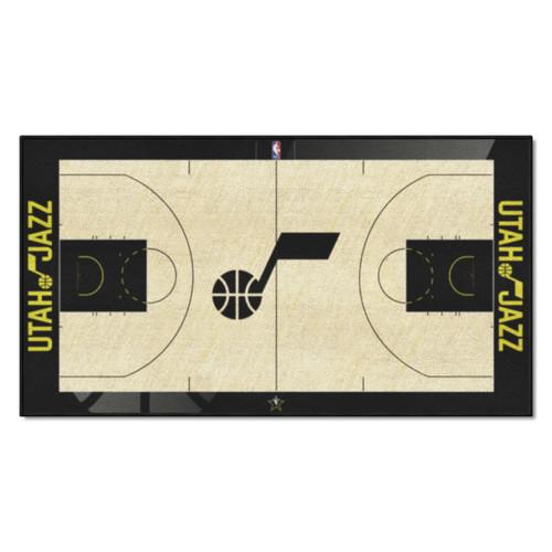 "24"" x 44"" Beige and Blue NBA Utah Jazz Court Rug Runner - IMAGE 1"