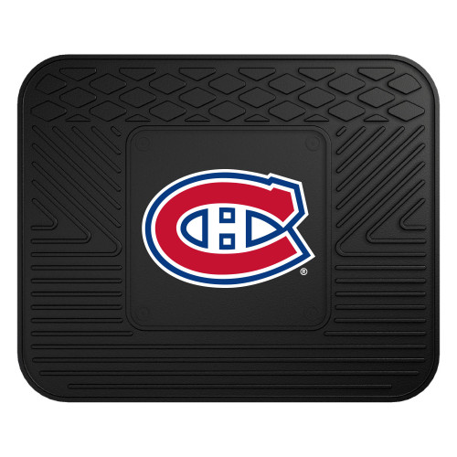 """14"""" x 17"""" Red and Black NHL Montreal Canadiens Heavy Duty Rear Car Seat Utility Mat - IMAGE 1"""