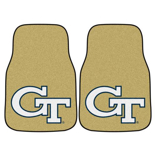 "Set of 2 Tan and White NCAA Georgia Tech Yellow Jackets Front Carpet Car Mats 17"" x 27"" - IMAGE 1"