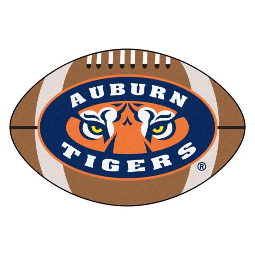 "20.5"" x 32.4"" Brown and Blue NCAA Auburn University Tigers Football Shaped Door Mat - IMAGE 1"