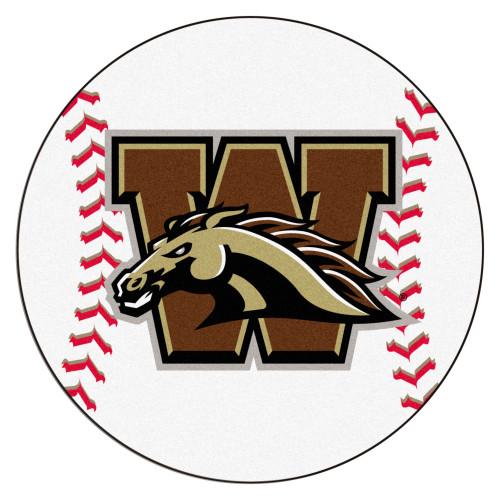 "27"" Brown and White NCAA Western Michigan University Broncos Baseball Mat - IMAGE 1"